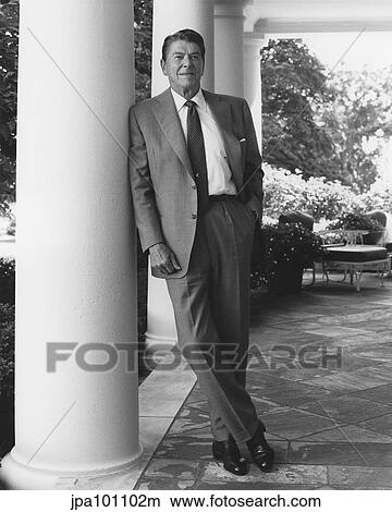 Stock Photo Of President Ronald Reagan Standing Outside The White