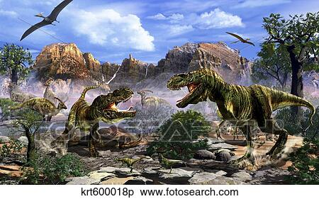 stock illustration of two t rex dinosaurs fighting over a dead