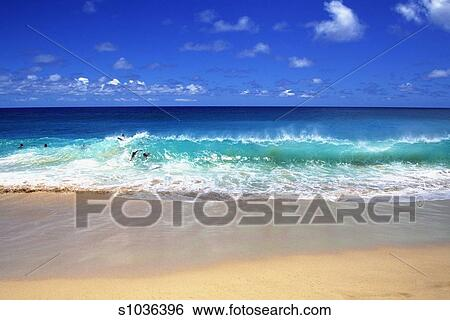 People Surfing On Waves Sandy Beach Park Oahu Hawaii USA