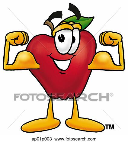 clipart of apple flexing muscles ap01p003 search clip art rh fotosearch com muscle png clipart muscle png clipart