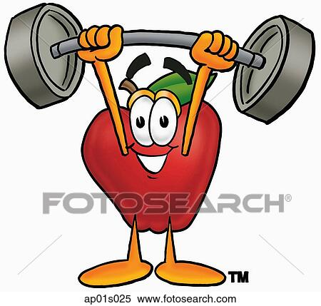 clipart of apple lifting weights high ap01s025 search clip art rh fotosearch com weight lifting clip art images girl weightlifting clipart