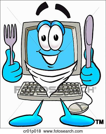 clip art of computer eating cr01p018 search clipart illustration rh fotosearch com