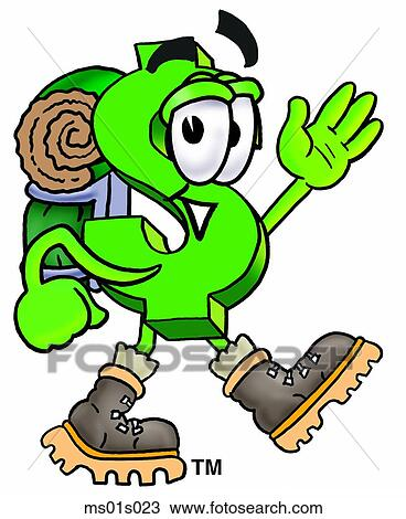 clipart of dollar sign hiking ms01s023 search clip art rh fotosearch com clipart hiking boots clipart hiking