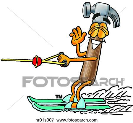 clip art of hammer water skiing hr01s007 search clipart rh fotosearch com water skiing images clipart water skiing images clipart