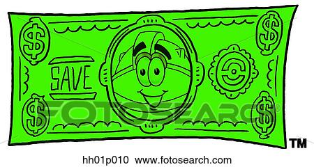 Clipart Hard Hat On A Dollar Bill Fotosearch Search Clip Art Il Ration