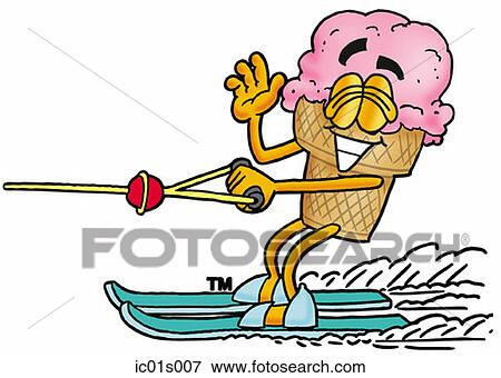 clip art of ice cream cone water skiing ic01s007 search clipart rh fotosearch com santa water skiing clipart girl water skiing clipart