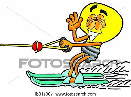 clip art of light bulb water skiing lb01s007 search clipart rh fotosearch com water skiing clipart water skiing clipart