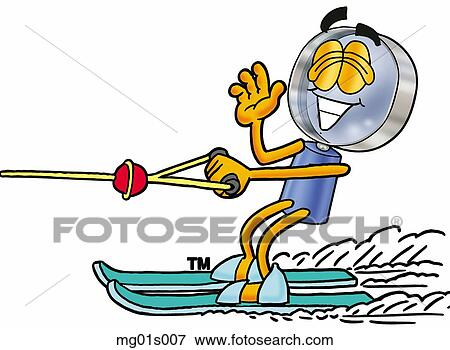 clip art of mag glass water skiing mg01s007 search clipart rh fotosearch com slalom water skiing clipart
