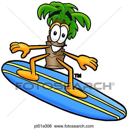 Palmier surfer clipart pt01s006 fotosearch - Palmier clipart ...