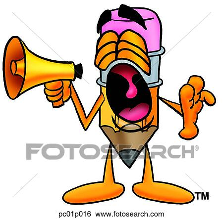 clip art of pencil with megaphone pc01p016 search clipart rh fotosearch com clipart megaphone free megaphone clipart images