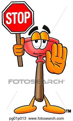 Plunger With Stop Sign Clipart Pg01p013 Fotosearch