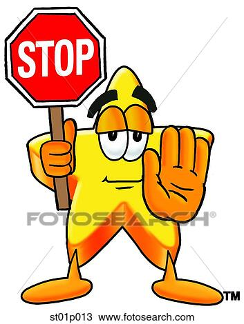 clipart of star with stop sign st01p013 search clip art rh fotosearch com clipart hand stop sign clip art stop sign with hand