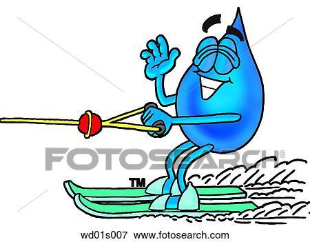 clip art of water drop water skiing wd01s007 search clipart rh fotosearch com water skiing clipart free Water Skiing Divider