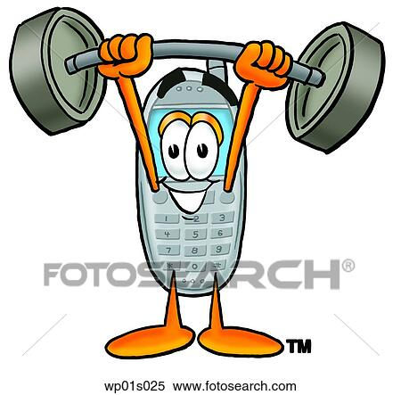clipart of wireless phone lifting weights high wp01s025 search rh fotosearch com