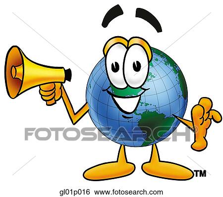 clip art of globe man with megaphone gl01p016 search clipart rh fotosearch com clip art megaphone pictures megaphone clipart no background