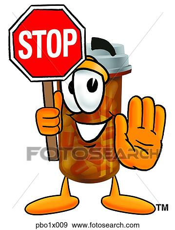 clip art of pill bottle holding stop sign pbo1x009 search clipart rh fotosearch com