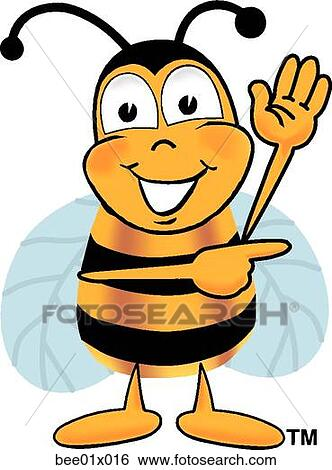 clip art of bee pointing to side bee01x016 search clipart rh fotosearch com painting clip art pictures pointing clipart