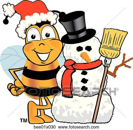 Clipart abeille bonhomme de neige bee01x030 recherchez des clip arts des illustrations - Clipart bonhomme de neige ...