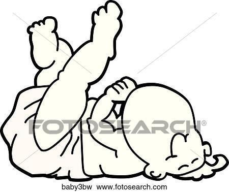 Baby Sleeping On Back Black White Stock Illustration