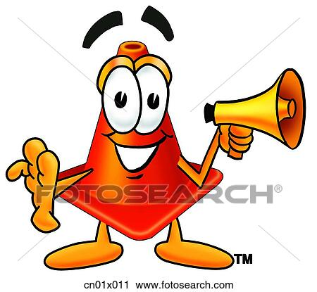 clipart of construction safety cone with megaphone cn01x011 search rh fotosearch com clip art megaphone pictures megaphone clipart vector