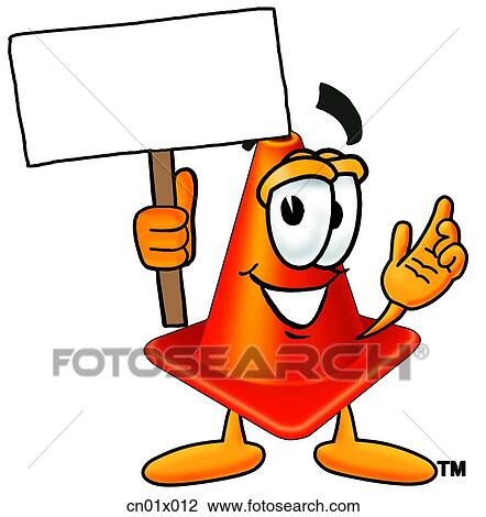 clip art of construction safety cone with sign cn01x012 search rh fotosearch com safety first sign clipart