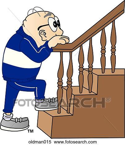 Old Man Climbing Stairs Stock Illustration | oldman015 ...