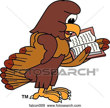 stock illustration of falcon reading book falcon009 search vector rh fotosearch com Hawk Silhouette Clip Art Small Hawk Clip Art