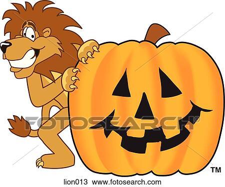 Halloween Pumpkin Drawing.Lion With Halloween Pumpkin Drawing