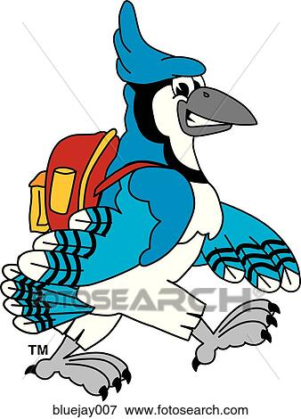 stock illustration of blue jay with backpack bluejay007 search eps rh fotosearch com blue jay clipart for school shirts toronto blue jay clipart