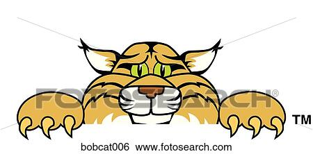 Stock Illustration of Bobcat Peeking Over bobcat006 ...