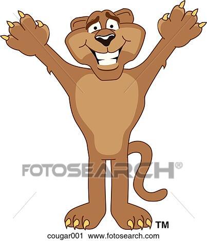 clipart of cougar standing cougar001 search clip art illustration rh fotosearch com cougar clip art free for schools cougar clip art images free