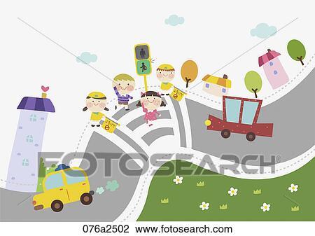 イラスト の 幼稚園児 子供 そして 交通 安全 クリップアート