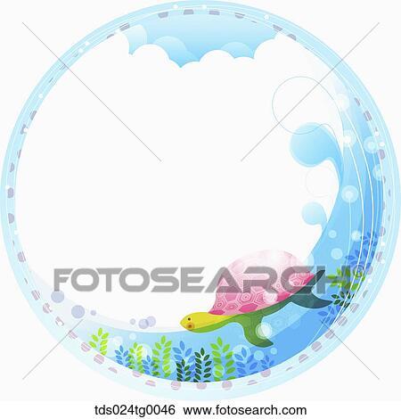 カメ 水泳 背景 イラスト Tds024tg0046 Fotosearch