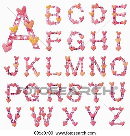 Colección de ilustraciones - alfabeto, en, caligrafía 095c0709 ...
