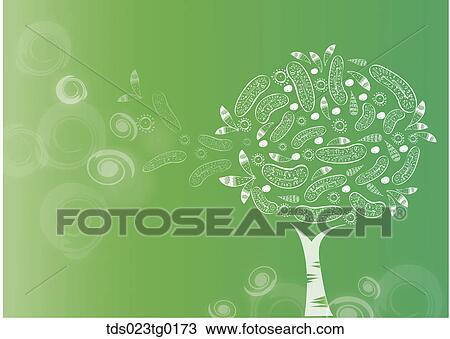 Il Fiore Bianco Albero Con Sfondo Verde Disegno