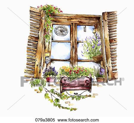 Archivio illustrazioni marrone legno finestra con for Finestra con fiori disegno