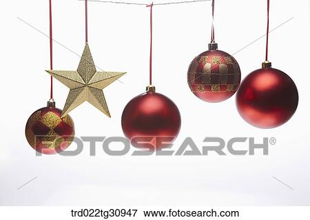 picture the red christmas ball decorations and gold star fotosearch search stock photography - Christmas Ball Decorations