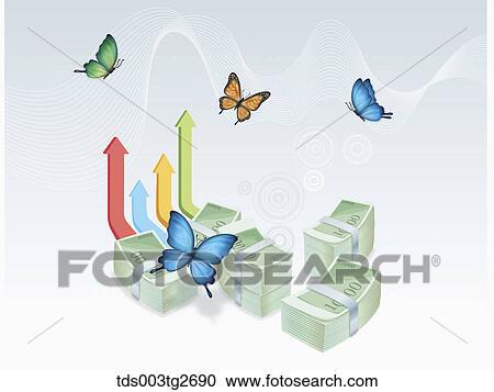 束 の お金 で 矢 そして 蝶 クリップアート切り張り