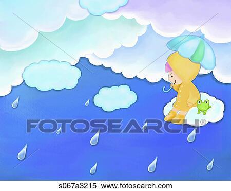 イメージ の 女の子 そして カエル 上に見下ろす 雨 イラスト