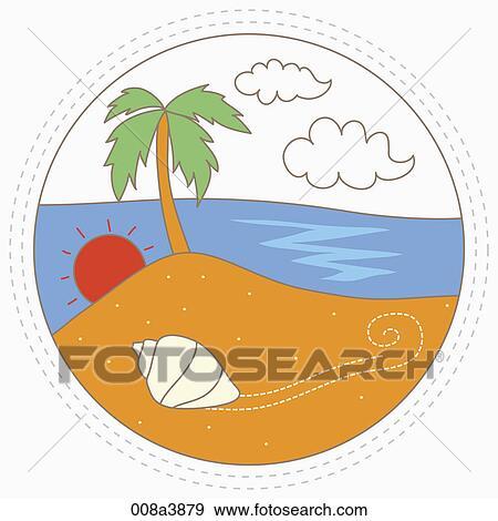 Conchas De Mar Y Palmera Cerca El Playa Colección De Ilustraciones