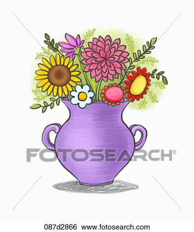 Stock Illustration Of Drawing Of Flowers In A Purple Vase 087d2866