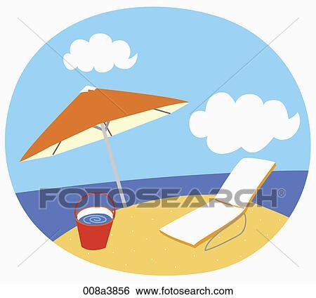 Sonnenschirm strand clipart  Stock Illustration - sunbed, und, sonnenschirm, strand 008a3856 ...