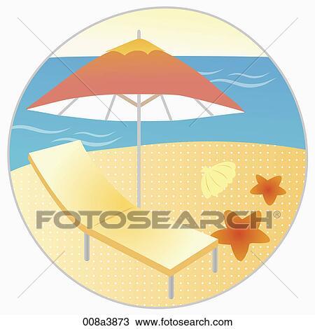 Sonnenschirm strand clipart  Zeichnung - sunbed, und, sonnenschirm, strand 008a3873 - Suche ...