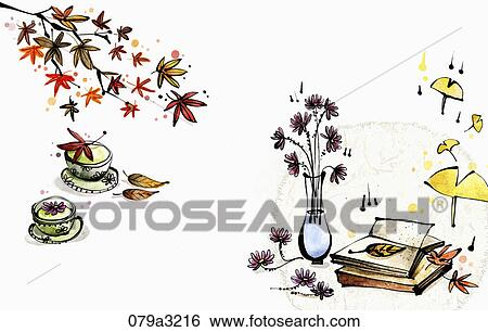 Stock Illustration Of The Image Of Flower Vase And Books Tea