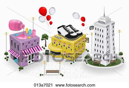 Various types of building structures Clip Art