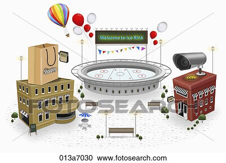 Various types of building structures Clipart