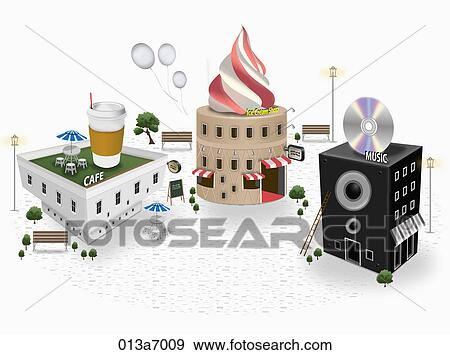 Various types of building structures Stock Illustration