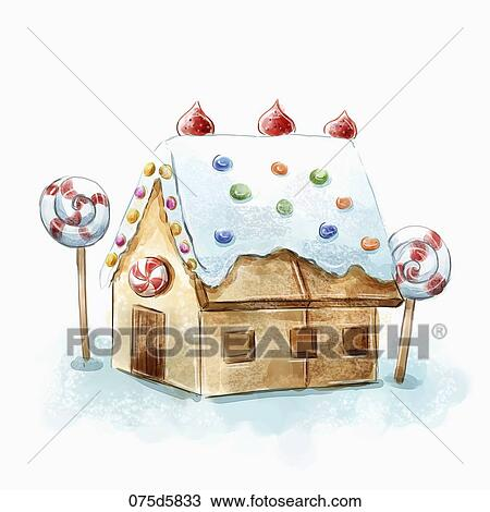 Candy House Drawing And Brown Candy House With