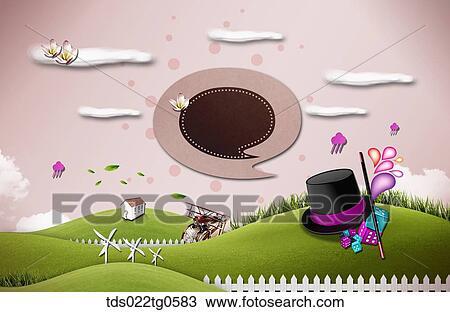 Dessin les champ vert nuages magicien chapeau et maison tds022tg0583 recherchez des - Dessin de chapeau de magicien ...