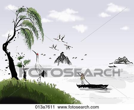Les Noir Blanc Dessin De Les Lac Paysage à A Grue Et Arbre Clipart